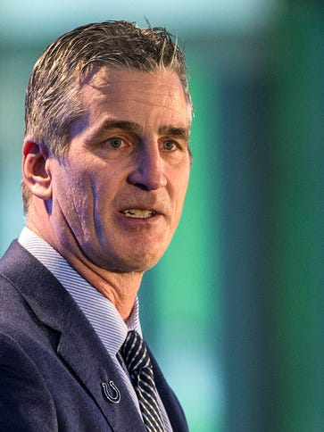 Frank Reich speaks during a press conference introducing