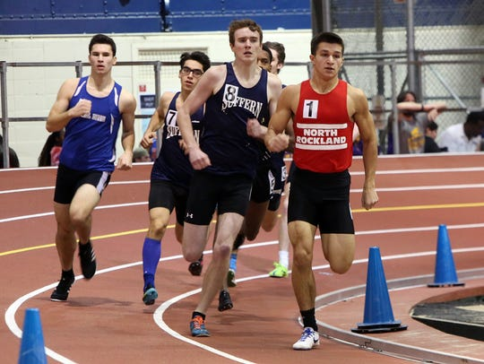 Runners compete in the 600m race at the Rockland County