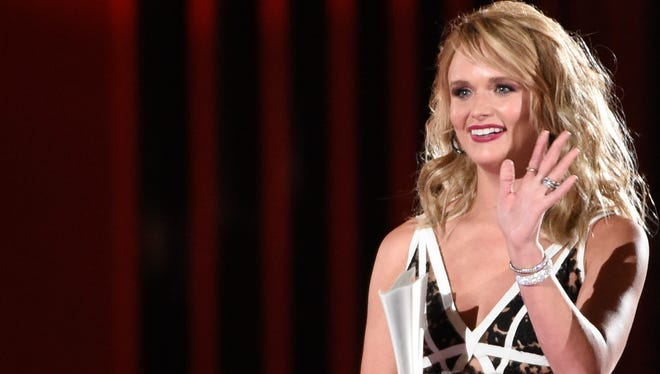 "Miranda Lambert accepts the award for song of the year for ""Automatic"" at the 50th annual Academy of Country Music Awards at AT&T Stadium on Sunday, April 19, 2015, in Arlington, Texas."