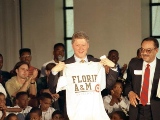 Then-Arkansas Gov. Bill Clinton campaigns in 1992 during an event at Florida A&M University.