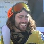Danny Davis smiles after his second place finish qualifying him for Sochi 2014 after the Men's Halfpipe Final at the 2014 Sprint U.S. Snowboarding Grand Prix at Mammoth Mountain Resort on January 19.