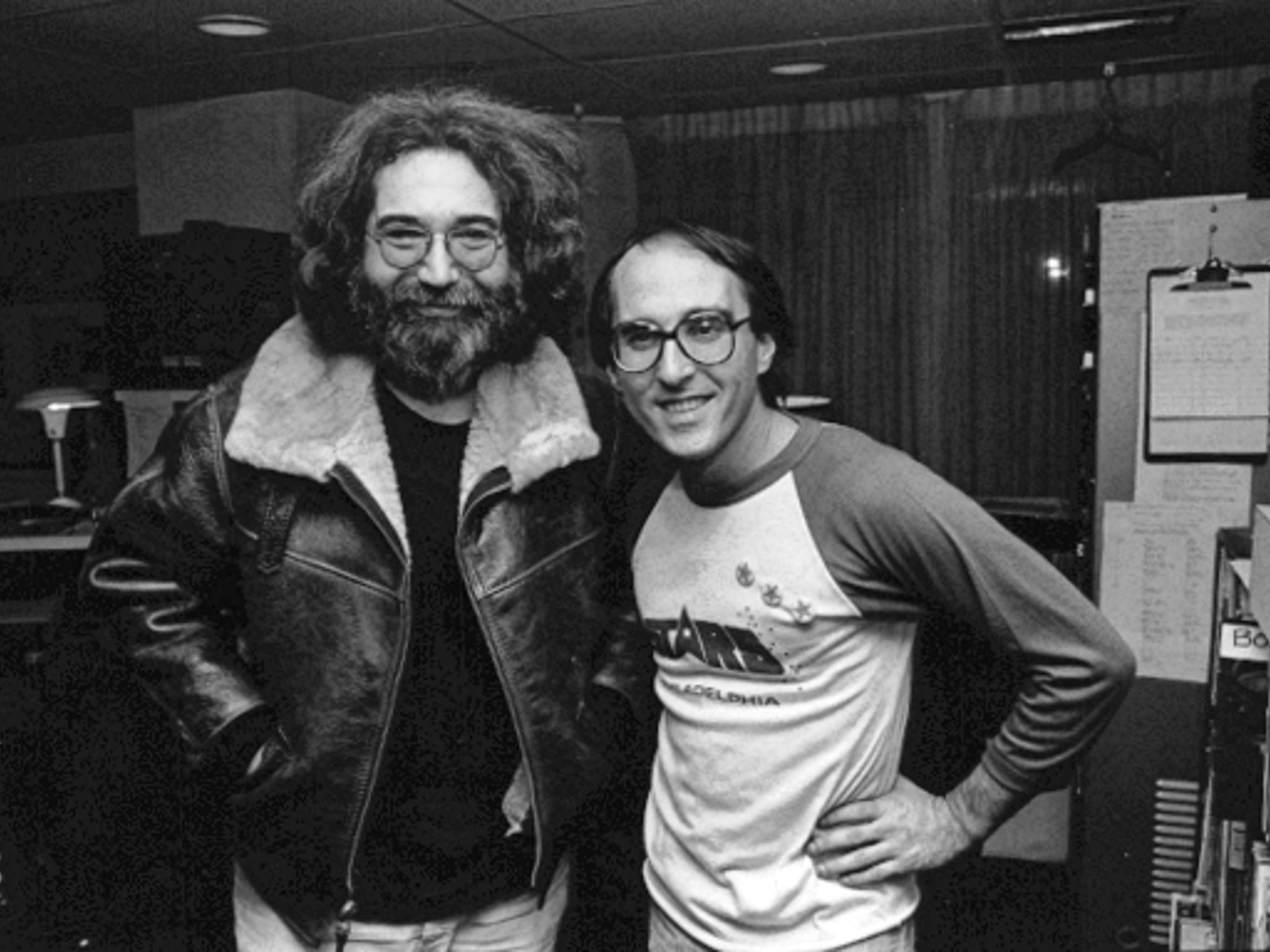 Michael Tearson shares a moment with Jerry Garcia.