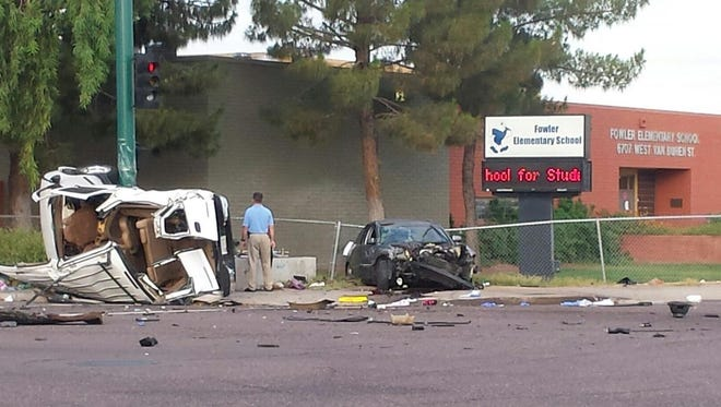 Five people were involved in a wreck in west Phoenix, including a 3-year-old child who was ejected, on July 13, 2015.