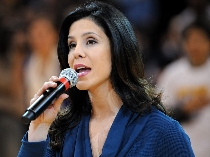 Besides hosting WISH-TV's morning newscast during the week, Lauren Lowrey, 29, frequently sings the national anthem before Pacers games at Bankers Life Fieldhouse.
