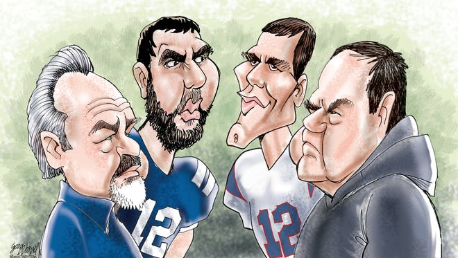 They meet again: Colts coach Chuck Pagano and quarterback Andrew Luck; Patriots quarterback Tom Brady and coach Bill Belichick.