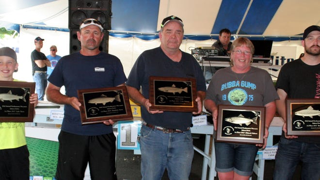 Northeastern Wisconsin Great Lakes Sport Fishermen held their salmon derby last weekend in Manitowoc. Top fish category winners included, from left: Lake Trout weighing in at 16.46 pounds was caught by Cooper Kneser; Rainbow Trout weighing in at 14.38 pounds was caught by Dan Abts; Coho Salmon weighing in at 9.66 pounds was caught by Dean Bratz; King Salmon weighing in at 28.24 pounds was caught by Phyllis Neienhaus; and Brown Trout weighing in at 13.75 pounds was caught by Dustin Groh.