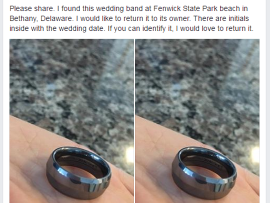 Beverly Crean found this ring while she was metal detecting