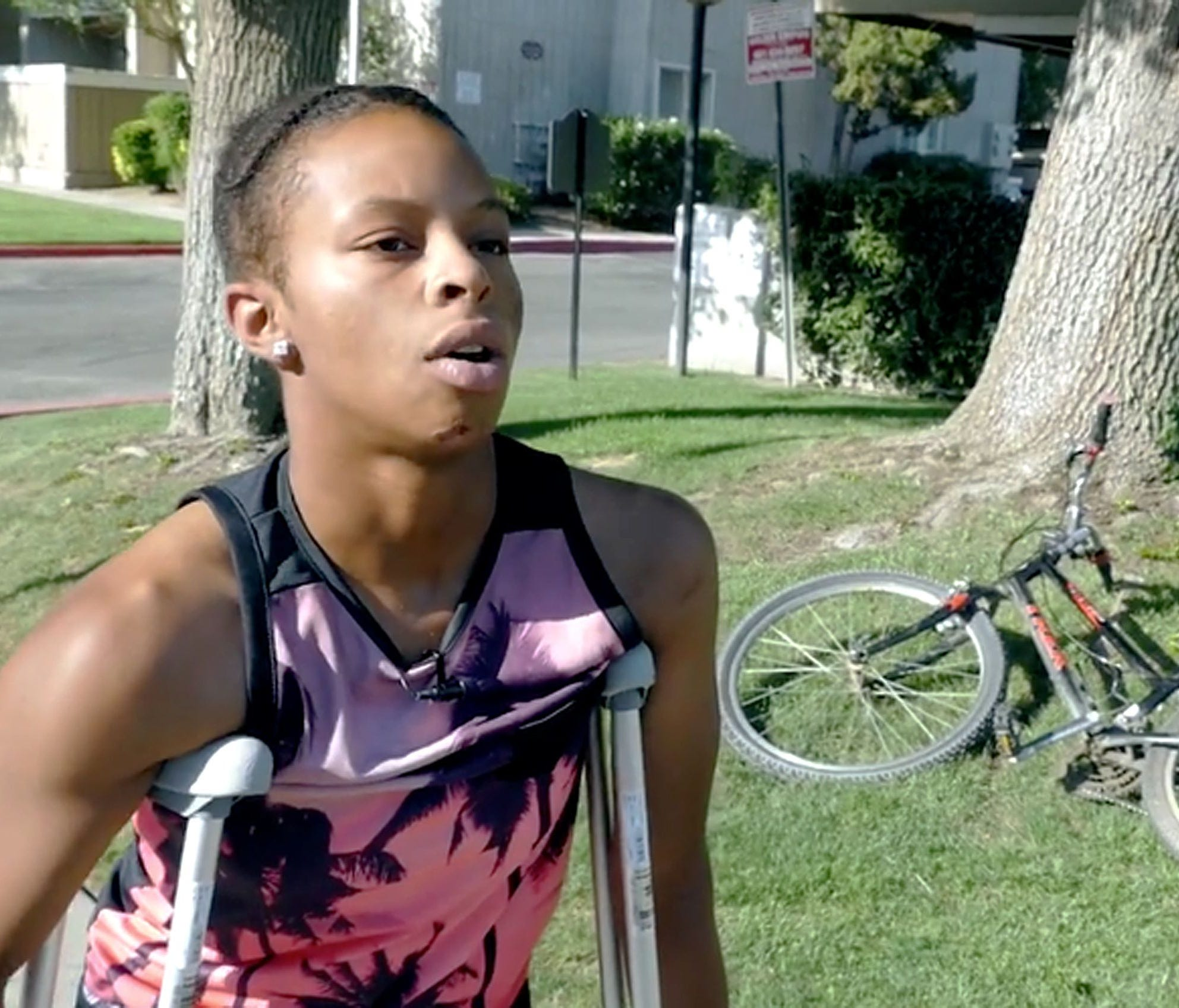 This image made from a June 2017 video provided by the NAACP Bakersfield branch shows Tatyana Hargrove speaking about her June 18, 2017, encounter with police in Bakersfield, Calif.