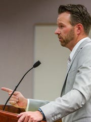 Mike Edwards, deputy county attorney, questions a witness during the State of Utah v. Sorensen trial at the Fifth District Court in Cedar City on Thursday, Oct. 20, 2016.