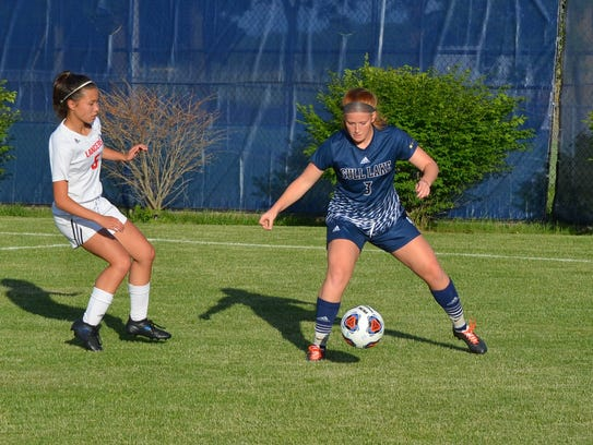 Gull Lake's Kaitlyn Stricker controls the ball during