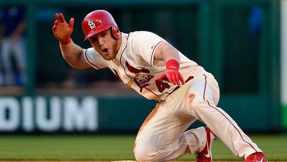 Sept. 30: Cardinals center fielder Harrison Bader celebrates
