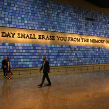 A quote from Virgil on a wall of the museum prior to the dedication ceremony at the National September 11 Memorial Museum in New York on May 15, 2014. More than 700,000 people have visited the 9/11 museum since it opened in May.