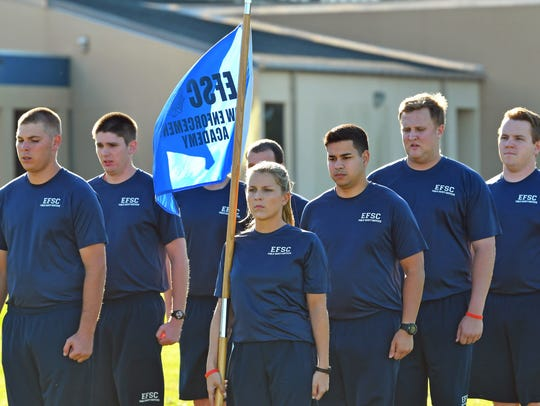Cadets stand at attention at Eastern Florida State College's Public Safety Institute in Melbourne.