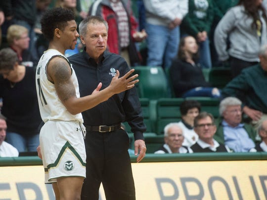 CSU coach Larry Eustachy talks with guard Prentiss