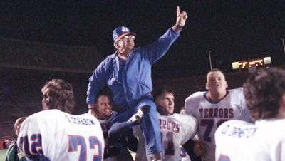 Paul Engen is carried off the field following Appleton West football team's victory in the WIAA Division 1 State Championship game in 1992.