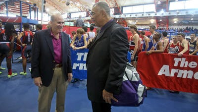 Joe Biddy, at left, with New Rochelle coach Andy Capellan at their 2015 Armory Coaches Hall of Fame induction.