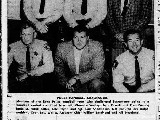 Paszek appears front and center in this image of the Reno Police handball team prior to a tournament in Sacramento (Reno Evening Gazette, May 16, 1962).