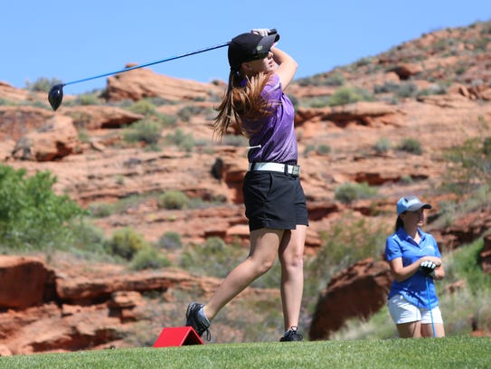 Desert Hill's Tori Thomas hits off the tees at Dixie