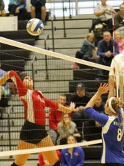 Kayla Snyder of Owego goes up for a kill Wednesday