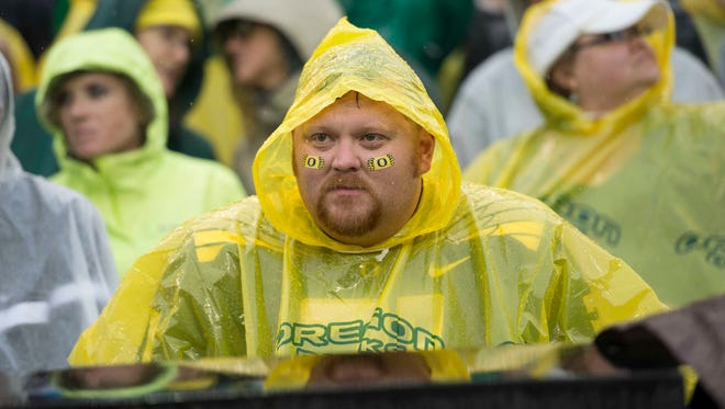 Oct 10, 2015; Eugene, OR, USA;  Oregon Ducks fan watches as the Washington State Cougars lead in the second half at Autzen Stadium. Mandatory Credit: Troy Wayrynen-USA TODAY Sports