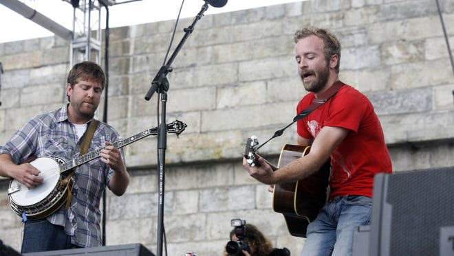 Trampled By Turtles performs at the Newport Folk Festival in Newport, R.I. on Sunday, July 29, 2012. (AP Photo/Joe Giblin)