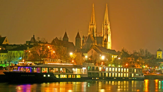 An Avalon Waterways ship  docked in Regensburg, Germany during a Christmas cruise.