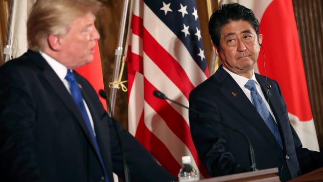 President Trump and Japanese Prime Minister Shinzo Abe at their news conference.