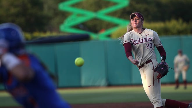 FSU's Kylee Hanson pitches against Florida during their game at JoAnne Graf Field on Wednesday.