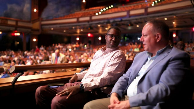 Keynote speaker and former star FSU athlete Charlie Ward chats with ESPN radio host Tom Block before they take the stage at the Prudential Productivity Awards at FSU's Ruby Diamond Theatre on Tuesday, June 5, 2018.