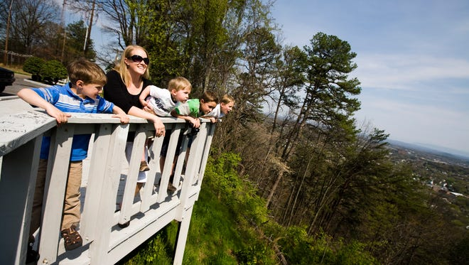 Sarah Engle, along with her sons Zeke, 5; Asher, 3; Eli, 9; and Micah, 7, enjoy the view from Sharp's Ridge.