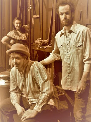 """Starring in the Endicott Performing Arts Center production of """"Of Mice and Men"""" are, from upper left, Megan Germond (Curley's Wife), Colin Cook (Lenny) and Peter Layland (George)."""