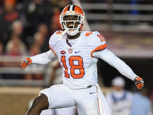 Clemson defensive back Jadar Johnson (18) celebrates
