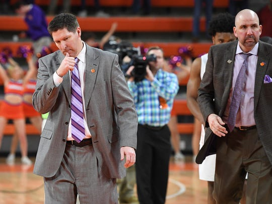 Clemson head coach Brad Brownell leaves the court after
