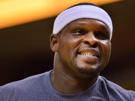 FILE - In this April 27, 2017, file photo Memphis Grizzlies forward Zach Randolph warms up before an NBA basketball game against the San Antonio Spurs in Memphis, Tenn. Police say Randolph was arrested on a marijuana charge after several police cars were vandalized when a large gathering became unruly at a Los Angeles housing project on Wednesday, Aug. 9, 2017. Randolph was taken into custody on suspicion of possession of marijuana with intent to sell. (AP Photo/Brandon Dill,File)