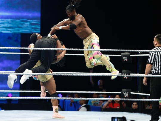 WWE superstars enter the ring and get the crowd hyped up for the first bout of the night at the Don Haskins Center. Wrestling fans were treated to a night filled with action of tumbles, high flying kicks and other moves all to familiar to the fans.