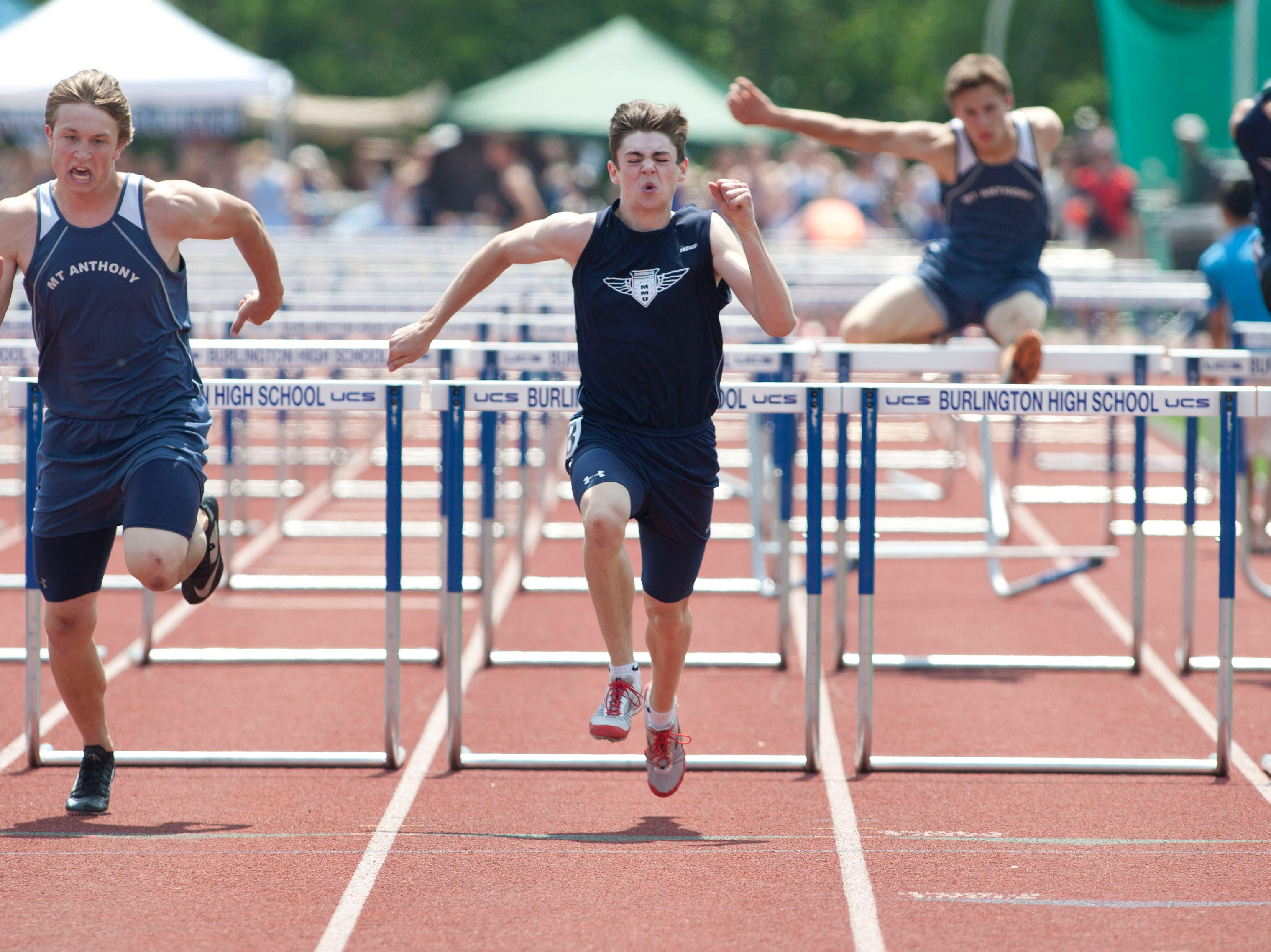 Mount Mansfield senior Alec Eschholz holds the state records in the 110- and 300-meter hurdle races.