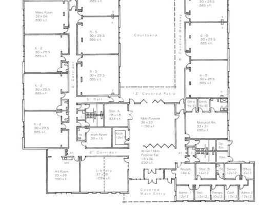A draft floor plan of the future Mosaic Academy building