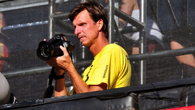 June 29, 2012; Los Angeles;  Former Arizona Diamondbacks pitcher Randy Johnson works as a photographer during a skateboard event at the X Games Los Angeles.