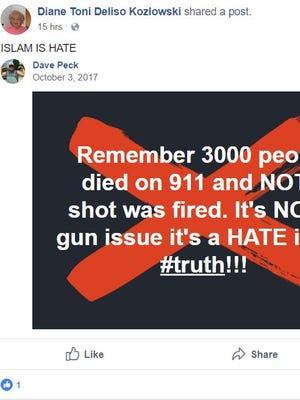 Deliso Kozlowski's repost on Facebook