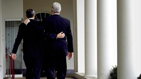 Bill Clinton leaves the Oval Office with his chief