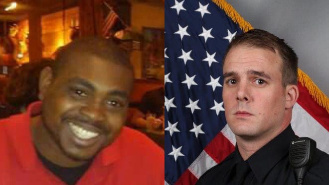 Jocques Clemmons, left, and Metro Nashville Officer Josh Lippert