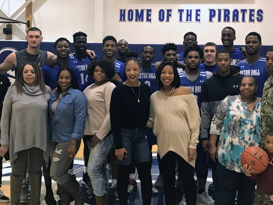 Members of Shavar Reynolds' family, including his dad Chief Reynolds (front row, far right) pose after Seton Hall's practice Saturday. The freshman guard is in the front row, in the black and gray sweatshirt.
