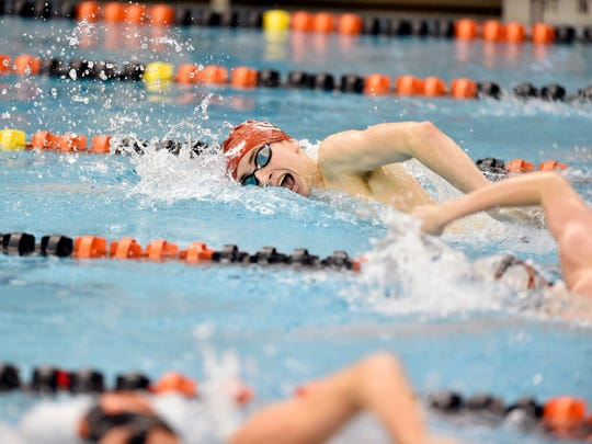 Susquehannock's Logan McFadden swims the boys' 200-yard freestyle for a first-place finish on the first day of the 2018 YAIAA swimming championships Thursday, Feb. 8, 2018, at Central York.