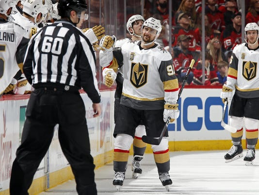 timeless design 715b2 cf6a3 Former Wing Tatar scores first with Golden Knights