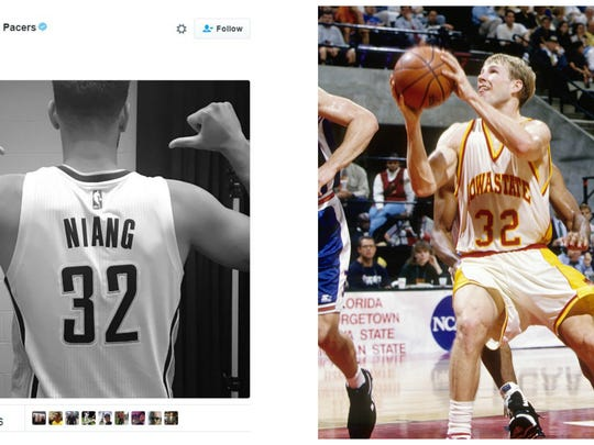 Former Iowa State Cyclone star Georges Niang will wear the same jersey number that his former coach, Fred Hoiberg, wore during his own ISU days.