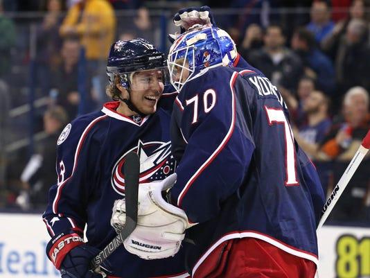 USP NHL: ANAHEIM DUCKS AT COLUMBUS BLUE JACKETS S HKN USA OH