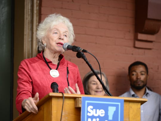 Gov. Madeleine Kunin, the first and only woman to serve as governor of Vermont, speaks in support of Democratic gubernatorial candidate Sue Minter in October 2015.