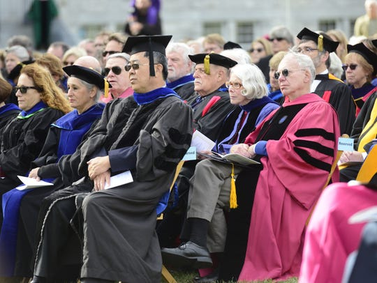 Middlebury College faculty listen to new president