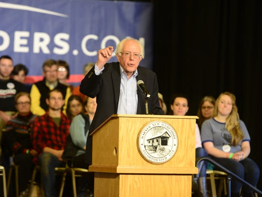 Sen. Bernie Sanders speaks at a campaign town hall in Warner, New Hampshire on Saturday.