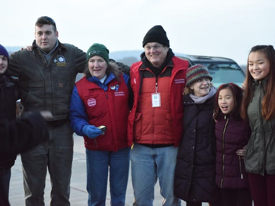 Walkway Over the Hudson staff joined in on the fun at a menorah lighting at state park Sunday.